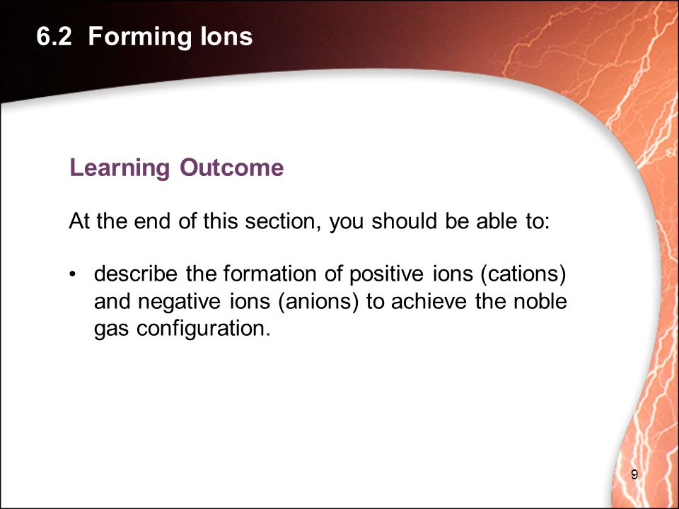 6.2 Forming Ions Learning Outcome