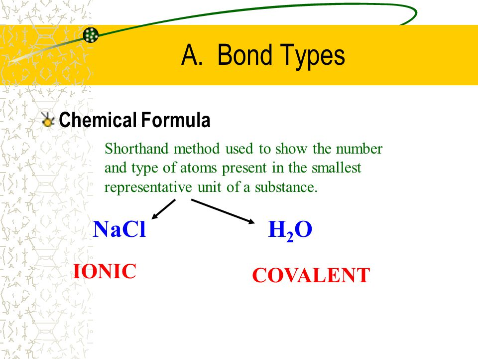 A. Bond Types NaCl H2O Chemical Formula IONIC COVALENT