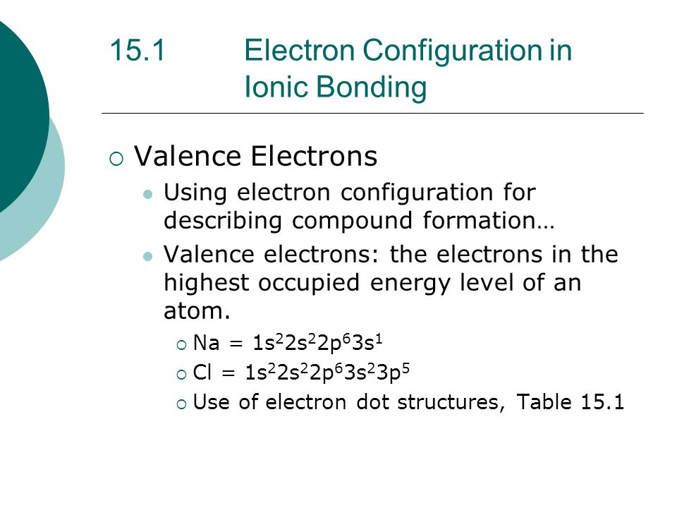 15.1 Electron Configuration in Ionic Bonding