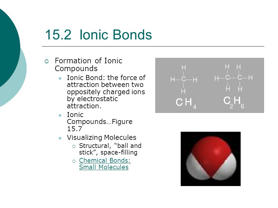 15.2 Ionic Bonds Formation of Ionic Compounds
