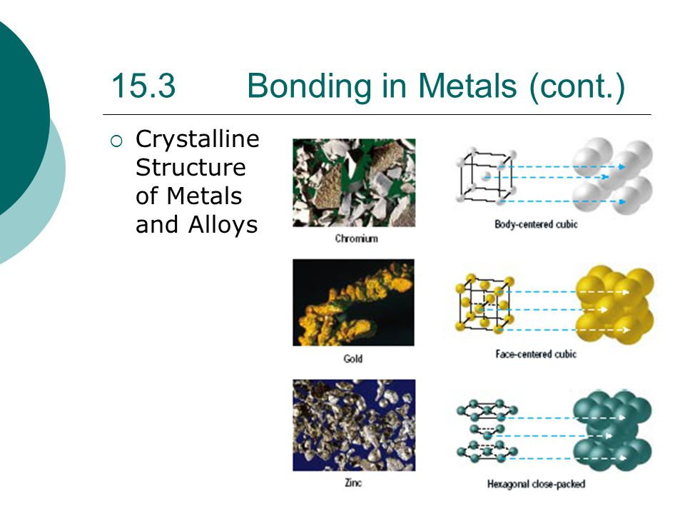 15.3 Bonding in Metals (cont.)