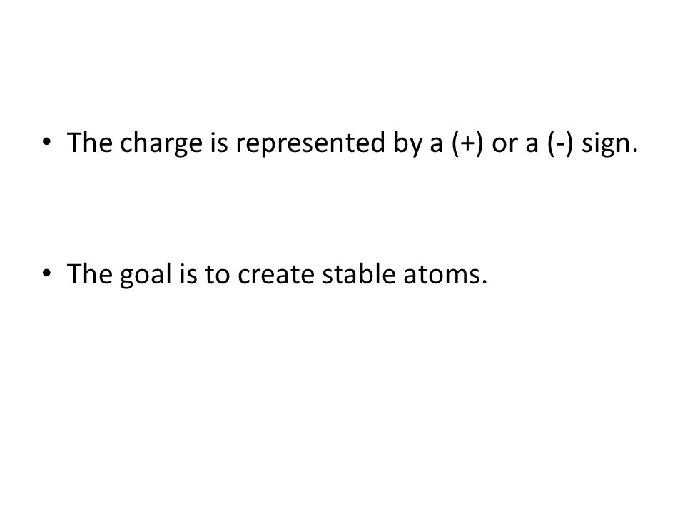 The charge is represented by a (+) or a (-) sign.