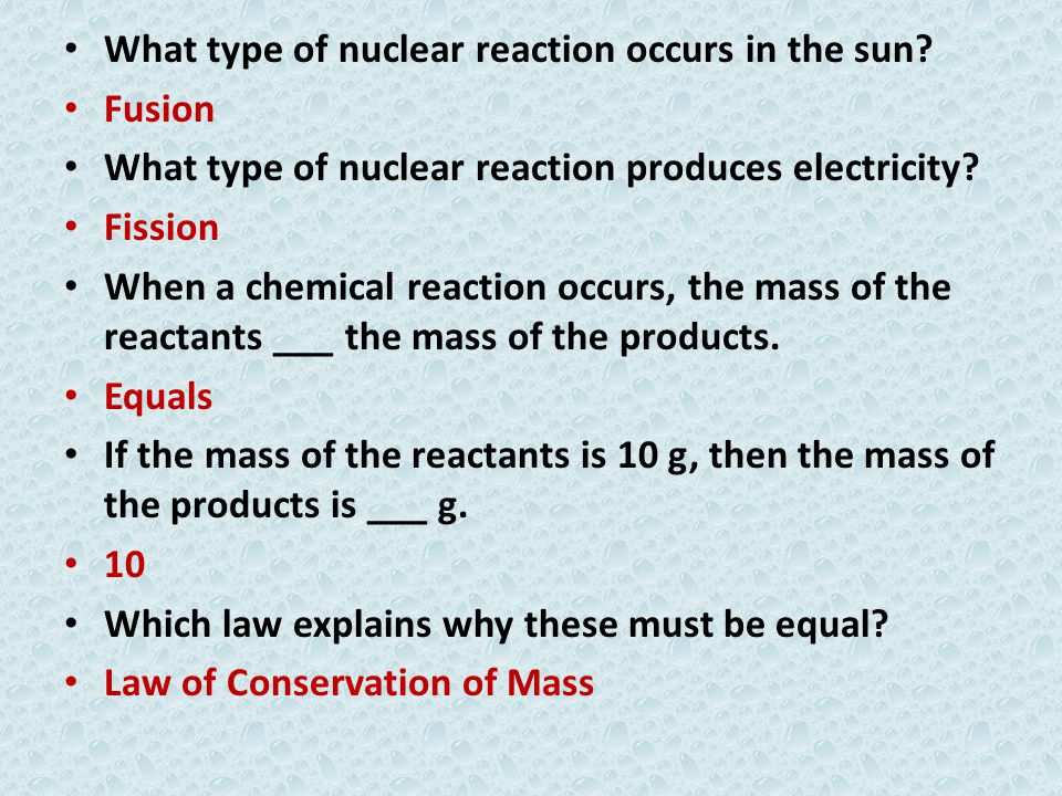 What type of nuclear reaction occurs in the sun