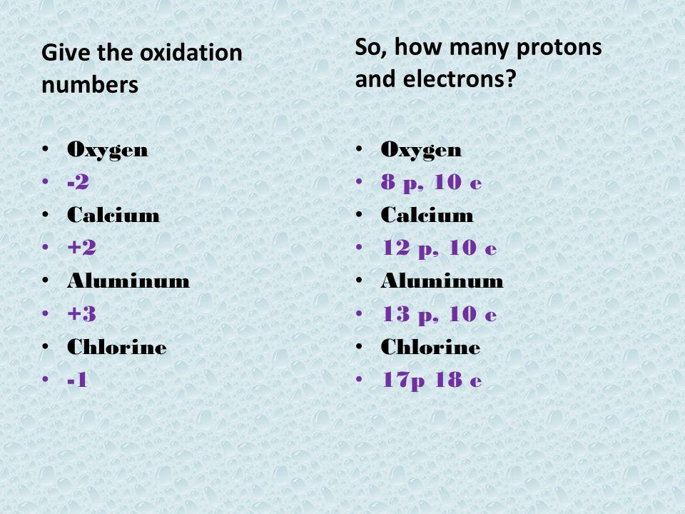 Give the oxidation numbers So, how many protons and electrons