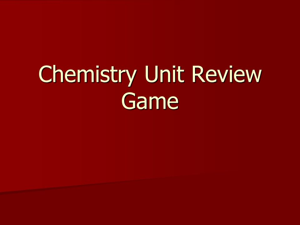 Chemistry Unit Review Game