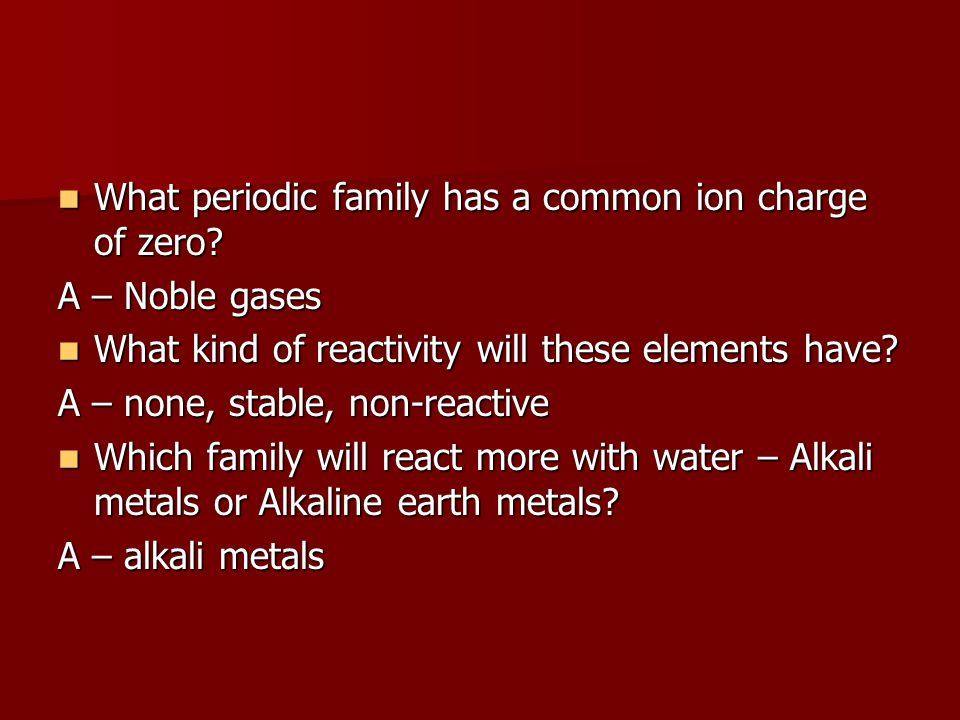 What periodic family has a common ion charge of zero