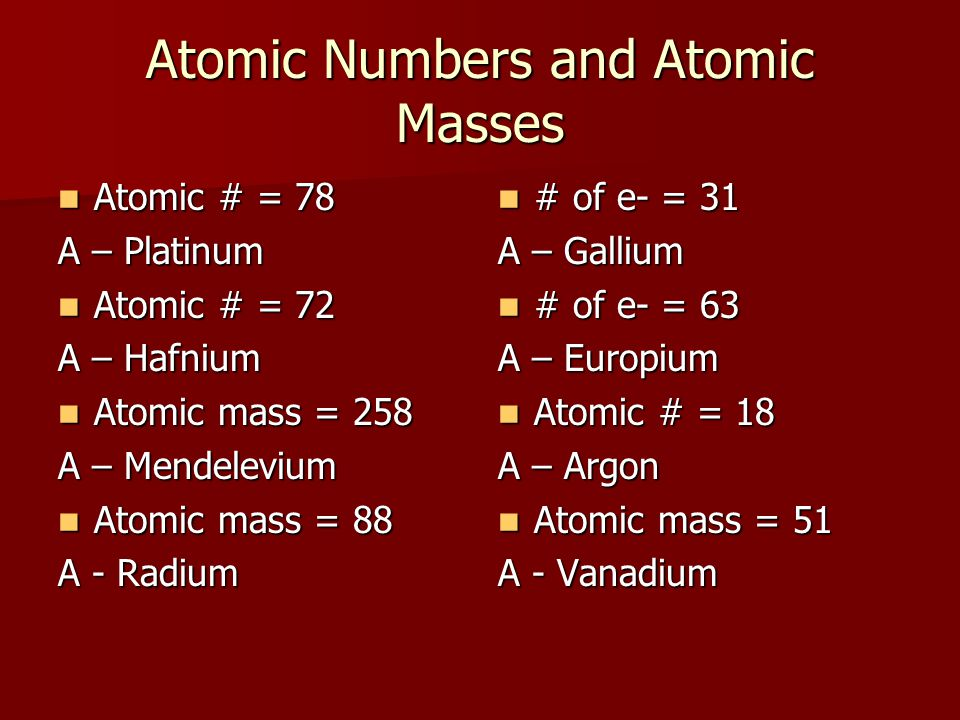 Atomic Numbers and Atomic Masses