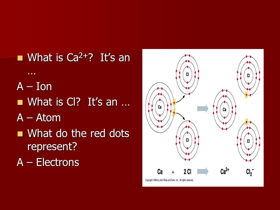 What is Ca2+ It's an … A – Ion. What is Cl It's an … A – Atom. What do the red dots represent