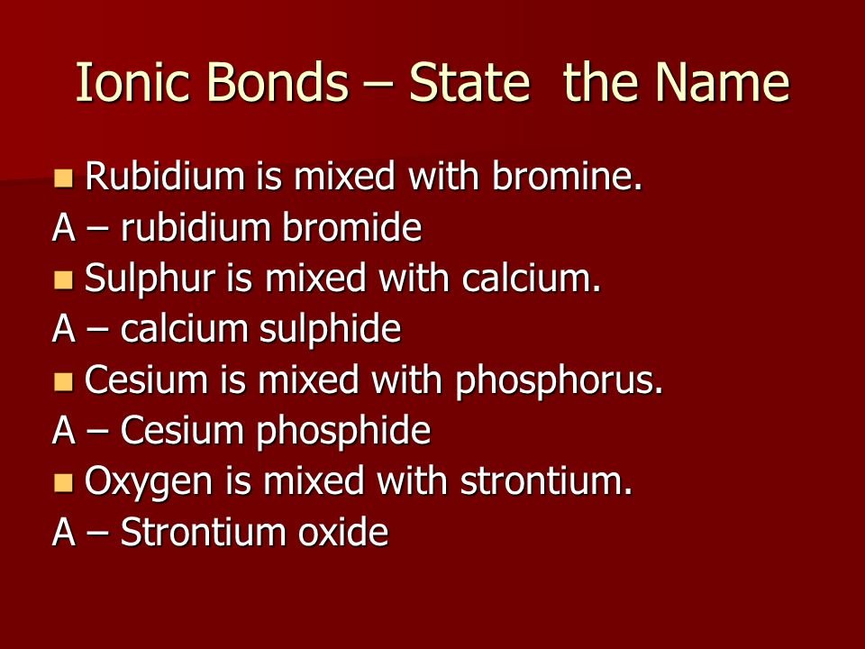 Ionic Bonds – State the Name