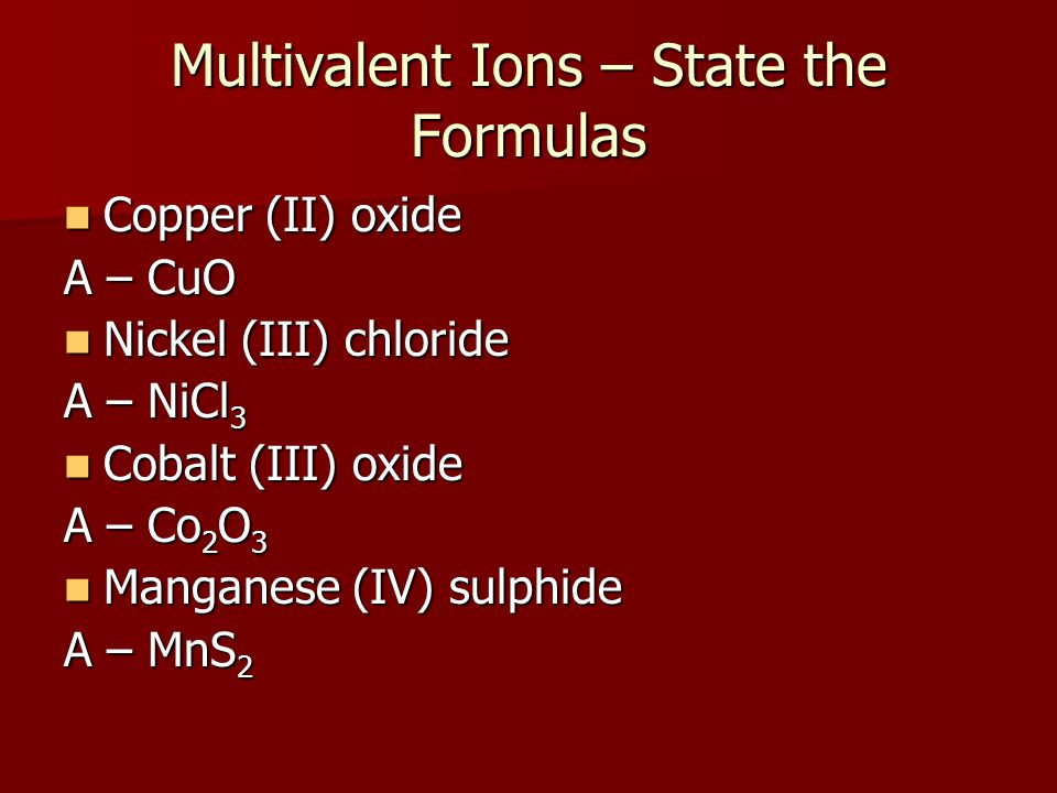 Multivalent Ions – State the Formulas