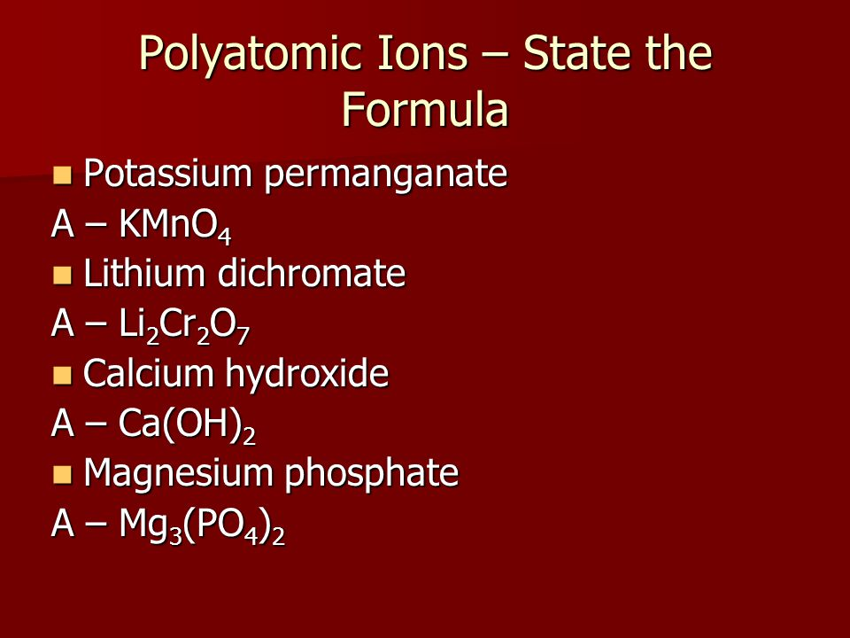 Polyatomic Ions – State the Formula