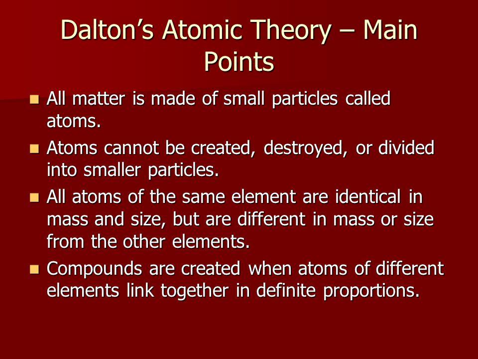 Dalton's Atomic Theory – Main Points
