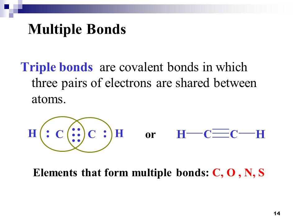 Elements that form multiple bonds: C, O , N, S