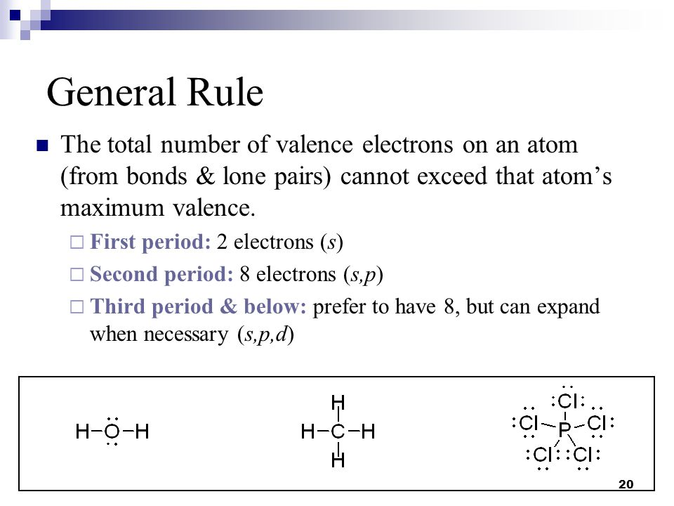 General Rule The total number of valence electrons on an atom (from bonds & lone pairs) cannot exceed that atom's maximum valence.