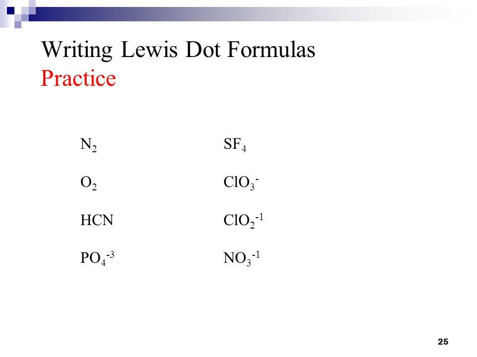 Writing Lewis Dot Formulas Practice