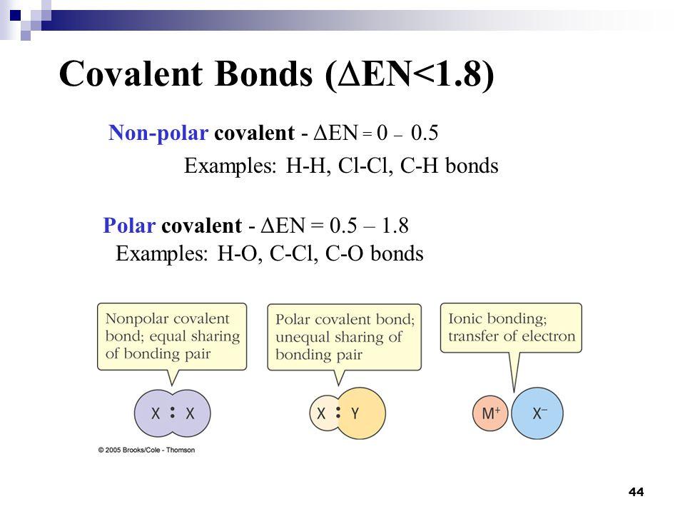 Covalent Bonds (EN<1.8)