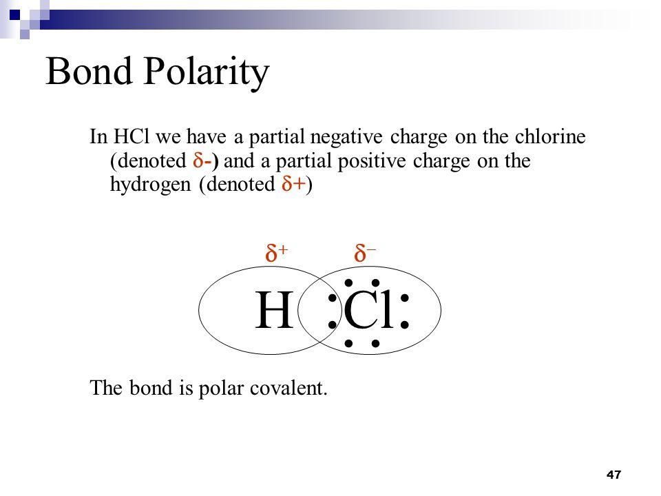 : : H :Cl: Bond Polarity d+ d-