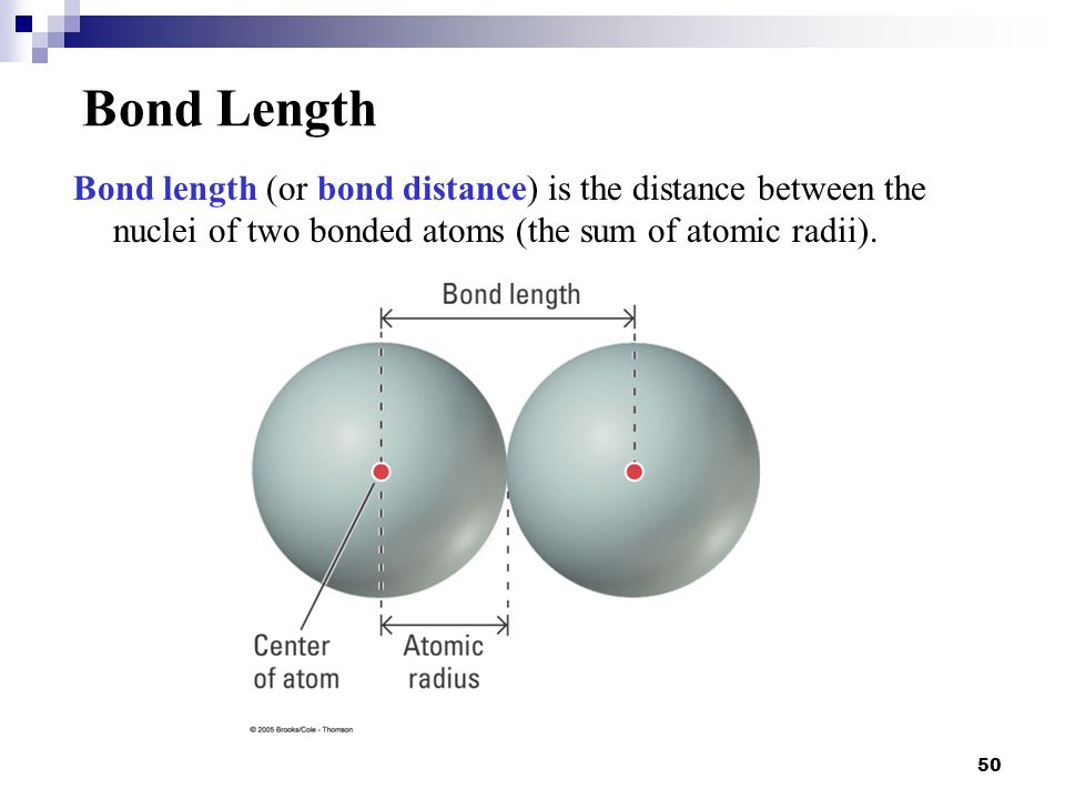 Bond Length Bond length (or bond distance) is the distance between the nuclei of two bonded atoms (the sum of atomic radii).