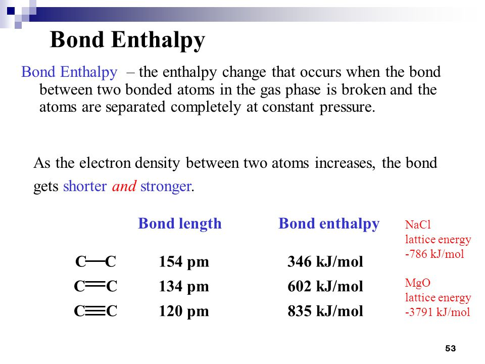 Bond length Bond enthalpy