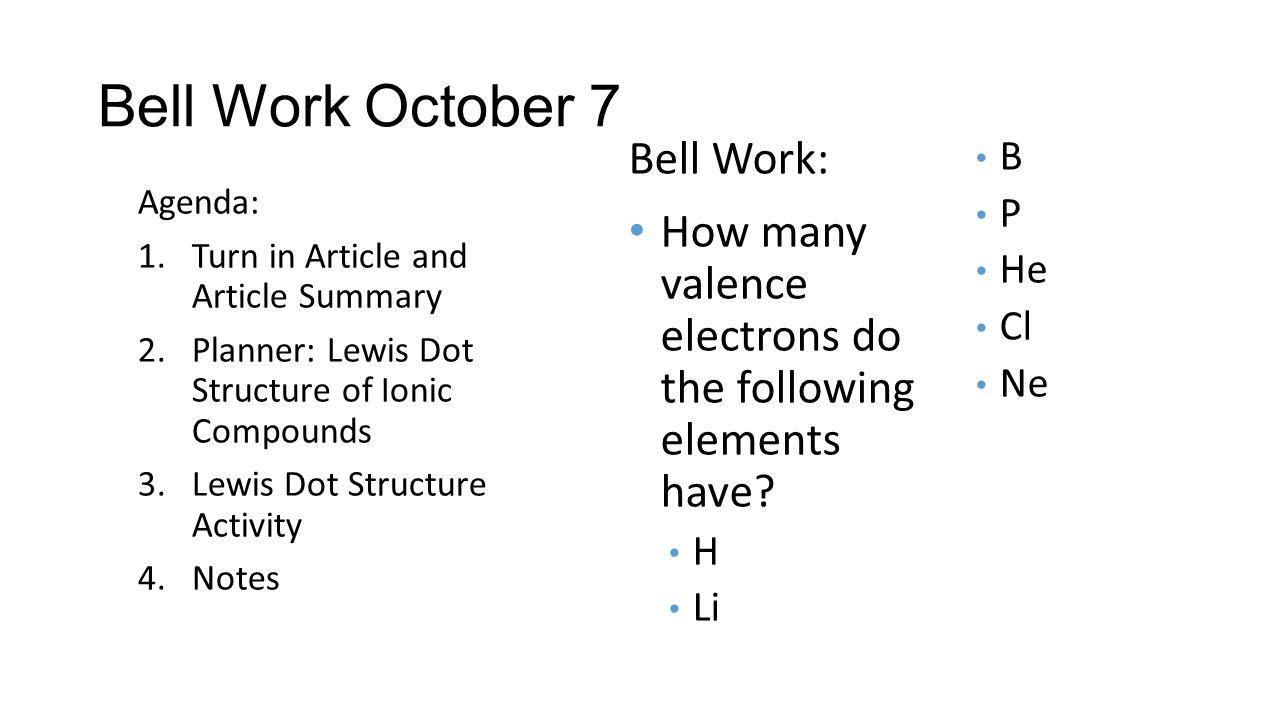 Bell Work October 7 Bell Work:
