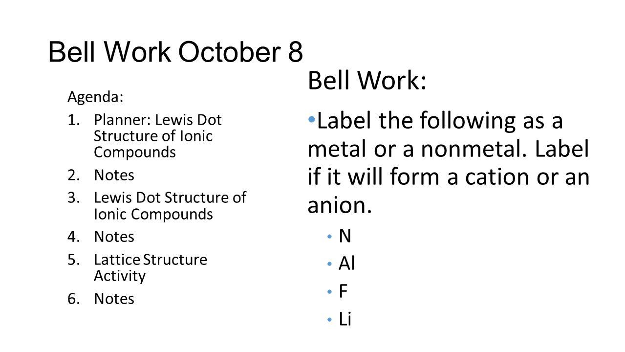 Bell Work: Bell Work October 8