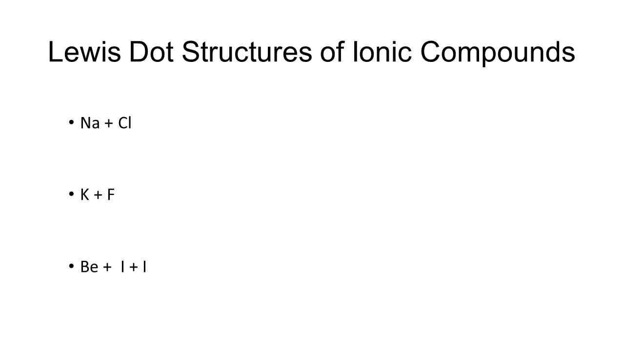 Lewis Dot Structures of Ionic Compounds