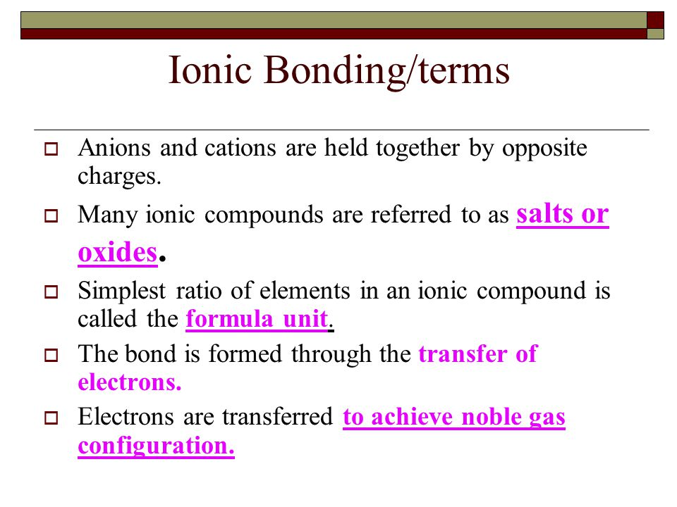 Ionic Bonding/terms Anions and cations are held together by opposite charges. Many ionic compounds are referred to as salts or oxides.