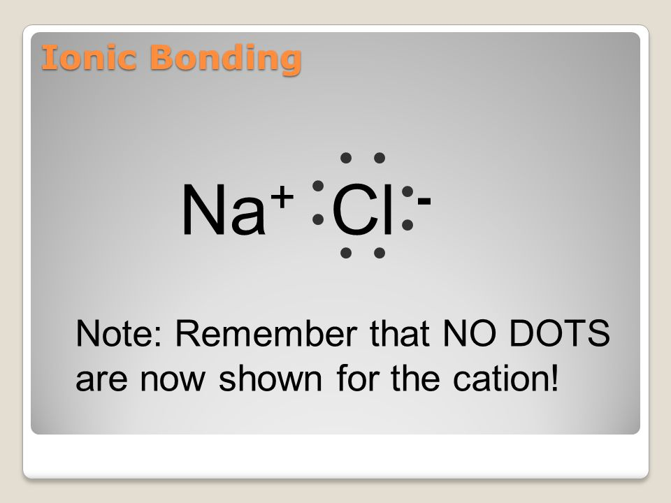 Na+ Cl - Note: Remember that NO DOTS are now shown for the cation!
