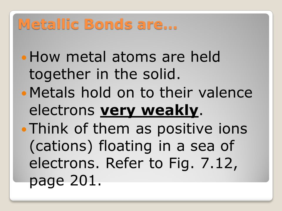 How metal atoms are held together in the solid.
