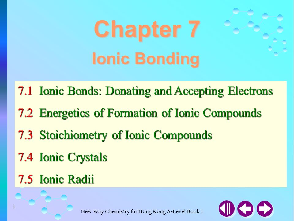 Chapter 7 Ionic Bonding. 7.1 Ionic Bonds: Donating and Accepting Electrons. 7.2 Energetics of Formation of Ionic Compounds.