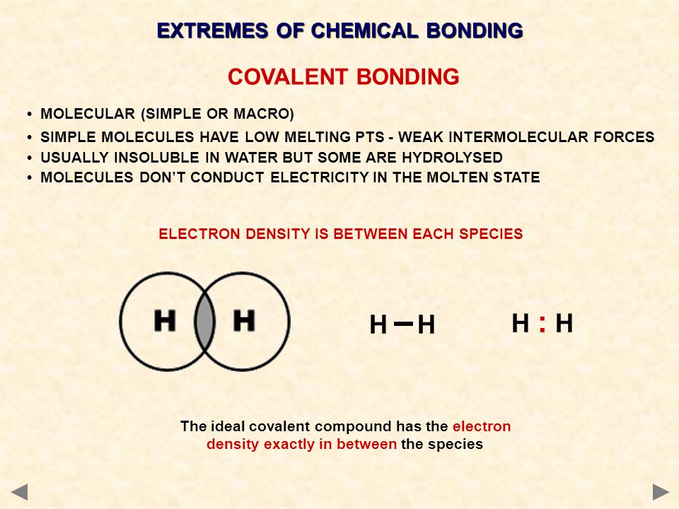 EXTREMES OF CHEMICAL BONDING ELECTRON DENSITY IS BETWEEN EACH SPECIES