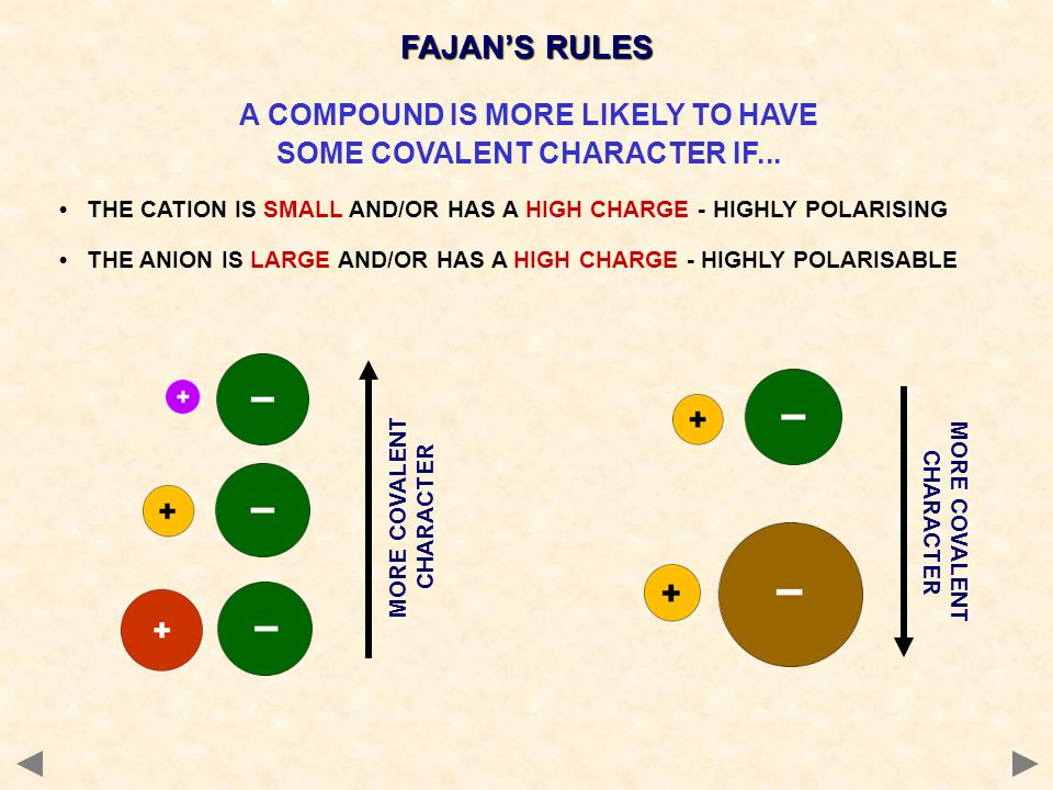 FAJAN'S RULES A COMPOUND IS MORE LIKELY TO HAVE