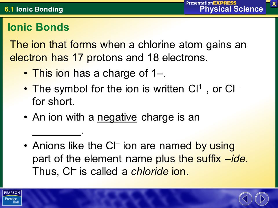 Ionic Bonds The ion that forms when a chlorine atom gains an electron has 17 protons and 18 electrons.