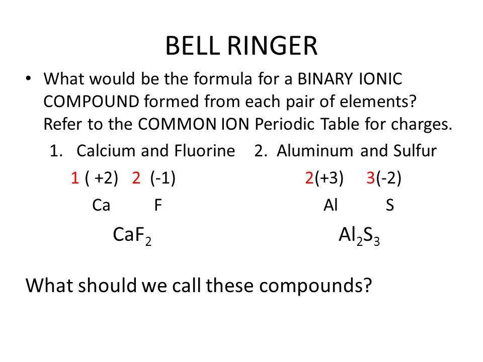 BELL RINGER CaF2 Al2S3 What should we call these compounds