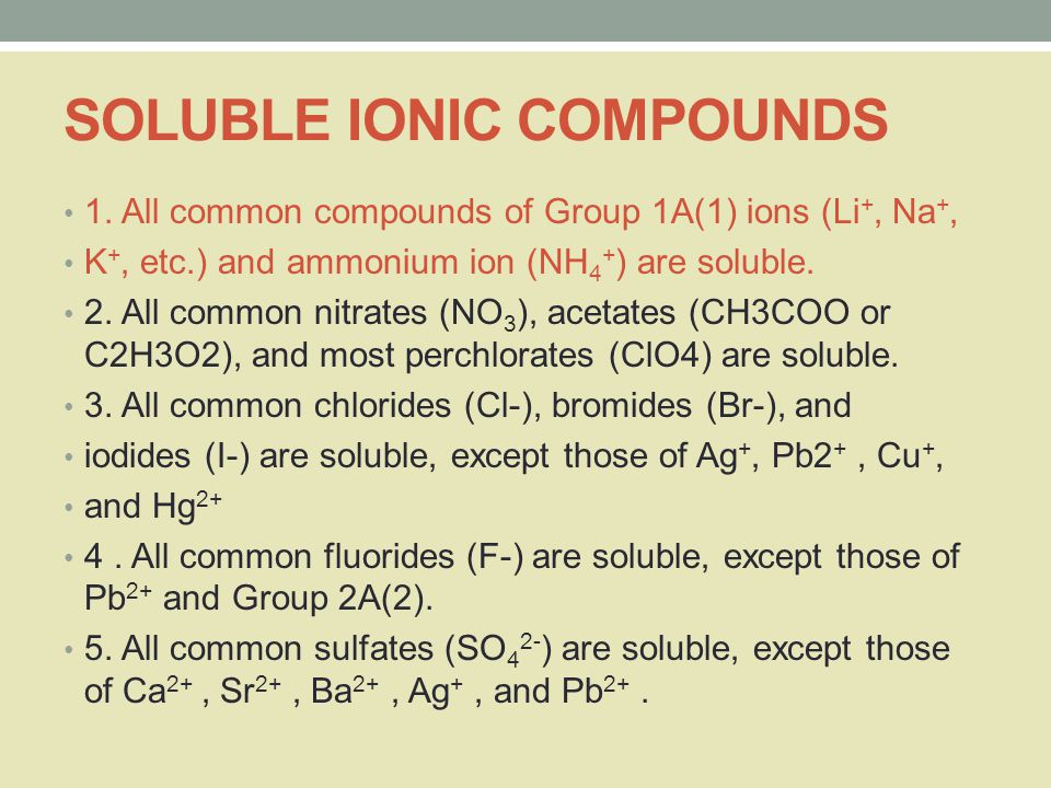 SOLUBLE IONIC COMPOUNDS