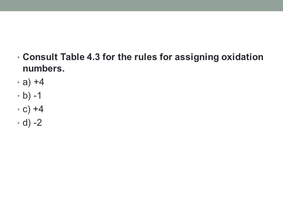 Consult Table 4.3 for the rules for assigning oxidation numbers.