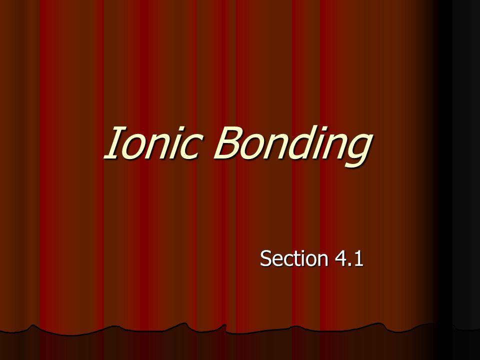 Ionic Bonding Section 4.1