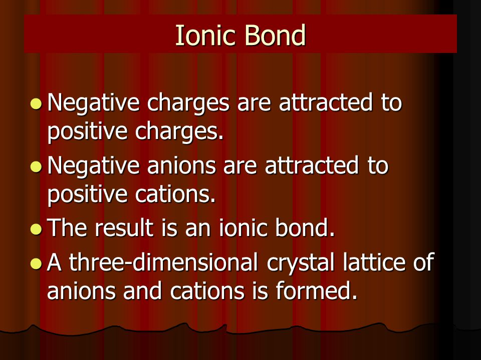 Ionic Bond Negative charges are attracted to positive charges.