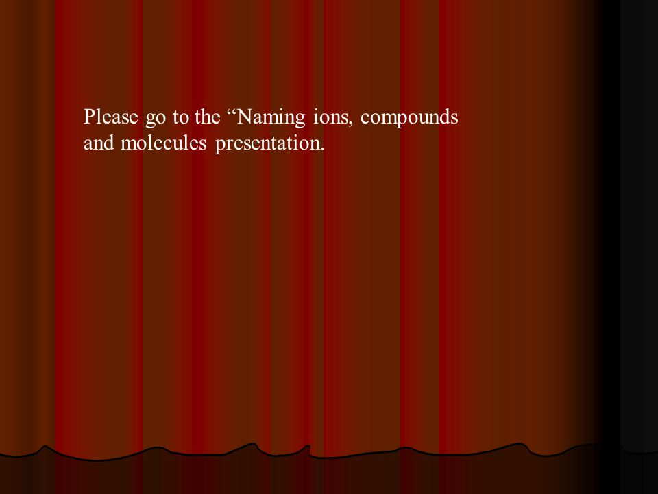 Please go to the Naming ions, compounds and molecules presentation.