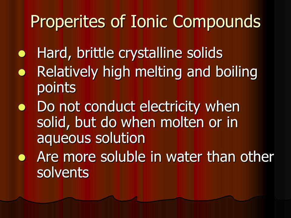 Properites of Ionic Compounds