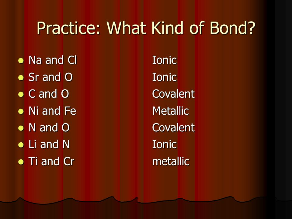 Practice: What Kind of Bond