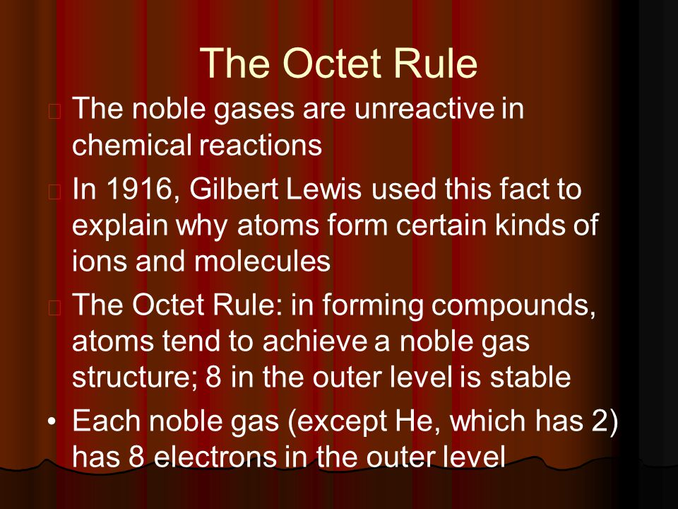 The Octet Rule The noble gases are unreactive in chemical reactions