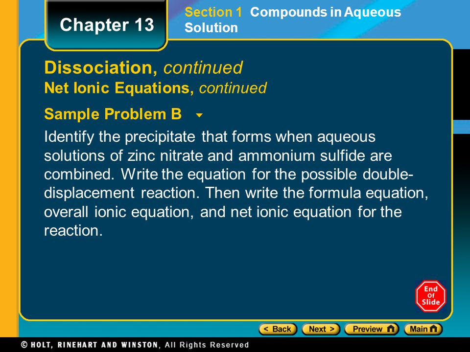 Dissociation, continued Net Ionic Equations, continued