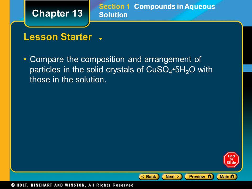 Chapter 13 Lesson Starter