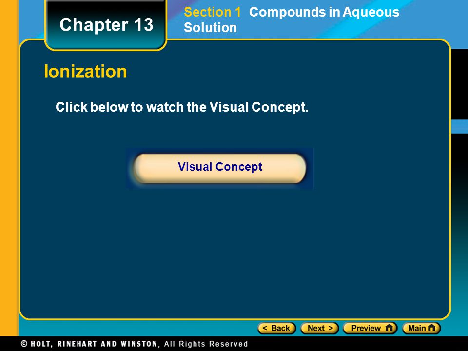 Chapter 13 Ionization Section 1 Compounds in Aqueous Solution