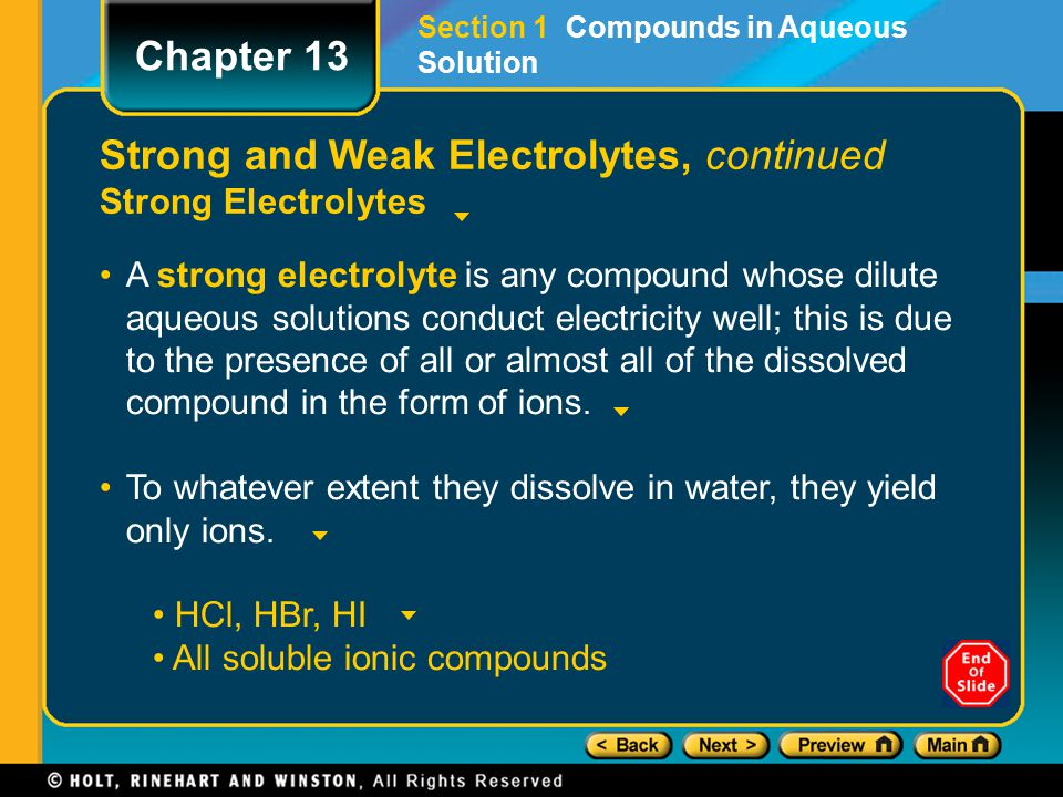 Strong and Weak Electrolytes, continued