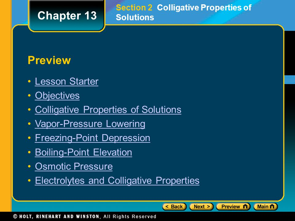 Chapter 13 Preview Lesson Starter Objectives