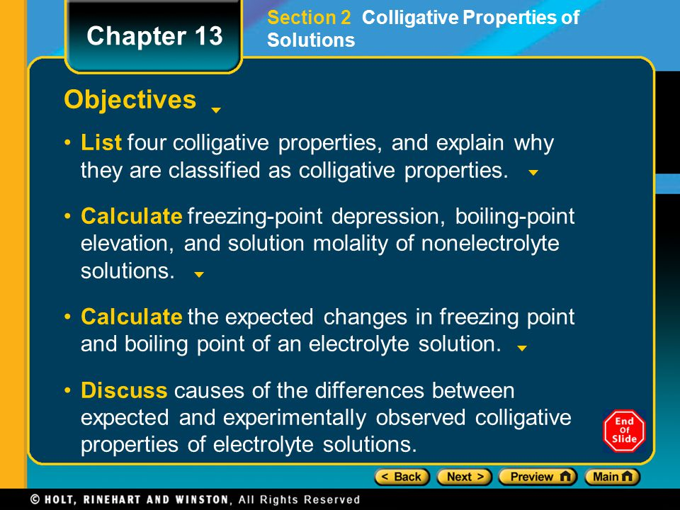 Section 2 Colligative Properties of Solutions