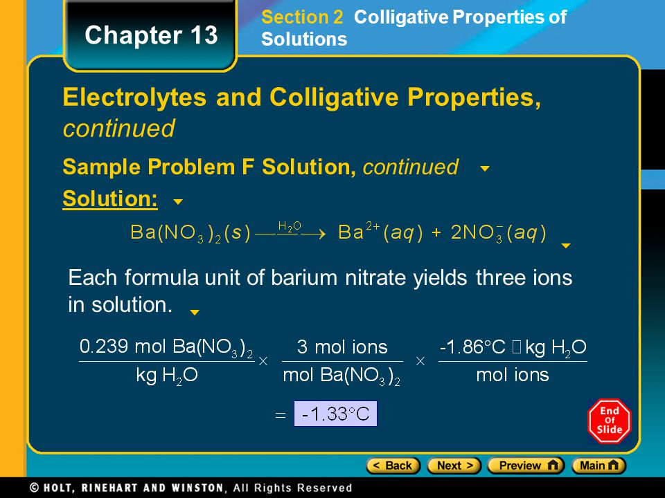 Electrolytes and Colligative Properties, continued