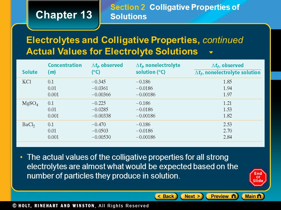 Chapter 13 Electrolytes and Colligative Properties, continued